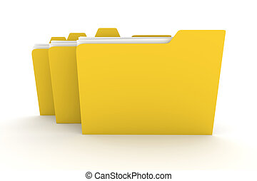 Three Folders - 3D rendered Illustration Isolated on white