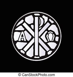 Alpha Omega Glass Window - An alpha omega symbol glass...