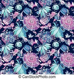 Vector Seamless Texture with Peony and Lily Flowers
