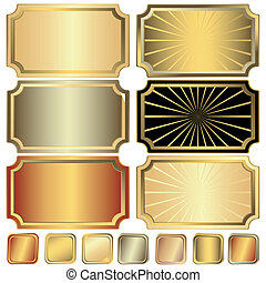 Collection golden, silvery and frame vector