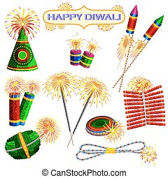 Colorful firecracker for Diwali holiday fun - illustration...