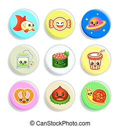Kawaii badges - Set IV - Set of badges with the cute...