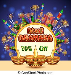 Happy Diwali promotion background with colorful firecracker and diya