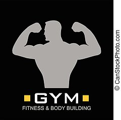 Gym. Fitness, Bodybuilding - Man of fitness silhouette...