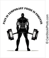 Body builder. Full body Silhouette of Bodybuilder fitness...