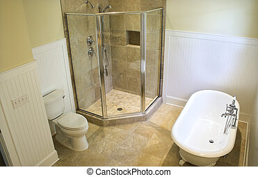 overhead view of bathroom - overhead view of luxury bathroom...