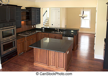 trendy kitchen - beautiful kitchen with black granite and...