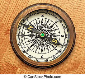 Vintage brass compass on background in closeup