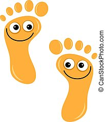 happy feet - A pair of cute cartoon footprints with happy...