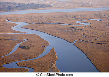 aerial view of salt marsh - aerial view of marine estuary in...