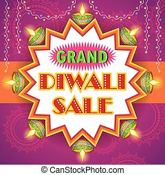 Happy Diwali promotion background with diya - illustration...