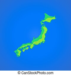 vector flat abstract japan islands illustration icon -...