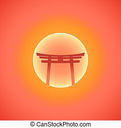 vector flat abstract japan gate blazing sunset sun...
