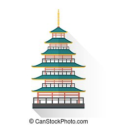 vector flat japan multistory pagoda illustration icon -...