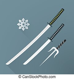 vector flat samurai weapon set illustration icon - vector...