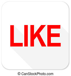 like red flat icon with long shadow on white background
