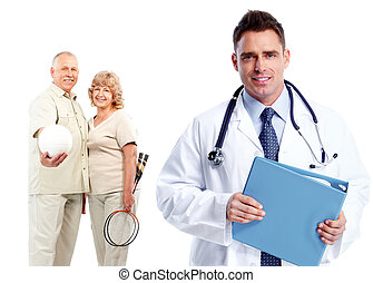 Medical family doctor and patients. Isolated white...