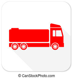 truck red flat icon with long shadow on white background
