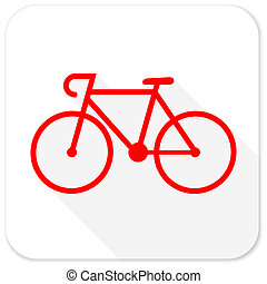 bicycle red flat icon with long shadow on white background