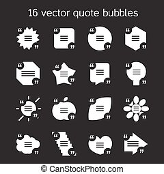 Square quote text bubbles set - Set of templates of square...