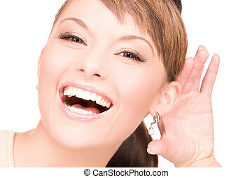 gossip - bright picture of young woman listening gossip