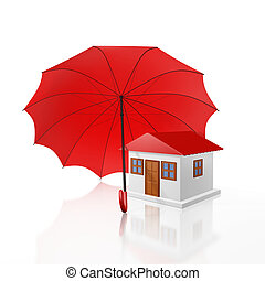 Protected Home Under a Red Umbrella - A 3D illustration of a...
