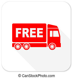 free delivery red flat icon with long shadow on white...