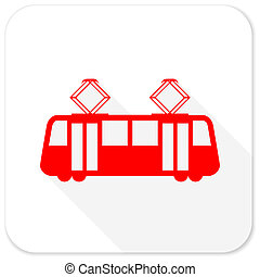 tram red flat icon with long shadow on white background
