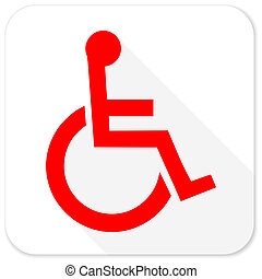 wheelchair red flat icon with long shadow on white background