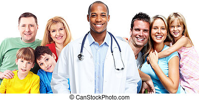 Medical doctor and happy family.