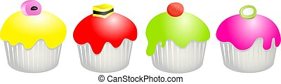 candy buns - Four delicious cupcakes each with a different...