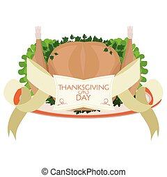 Vector roast turkey for Thanksgiving Day