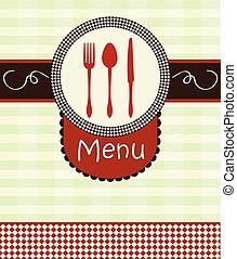 Cover menu with kitchenware