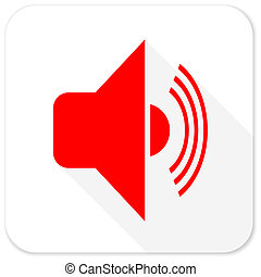 volume red flat icon with long shadow on white background