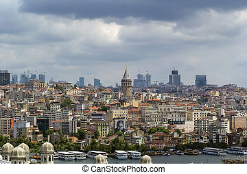View of Istanbul Beyoglu area with Galata Tower from...