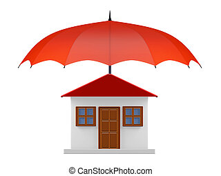 Protected House under Red Umbrella - A 3D illustration of...