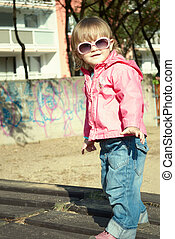 Little girl with sunglasses - Portrait of a beautiful little...