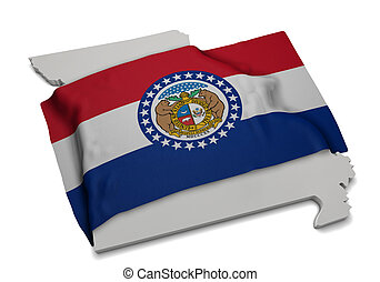 Realistic flag covering the shape of Missouri (series)