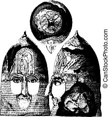 Jaroslav helmet, Grand Duke of Russia to 1238, saw top, front and side, vintage engraving.