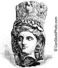 Vendome Museum, Head ancient terracotta, vintage engraving -...
