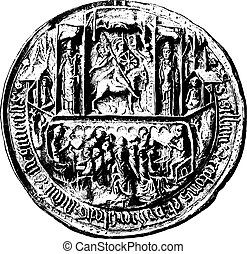 Seal of the University of Angers in the Middle Ages, vintage engraving.