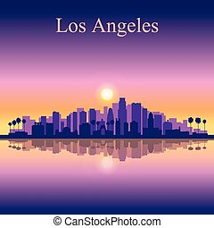 Los Angeles city skyline silhouette background, vector...