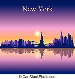 New York city skyline silhouette background, vector...