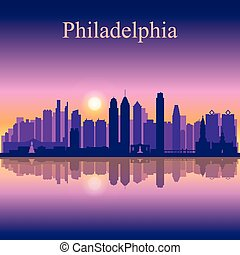 Philadelphia city skyline silhouette background, vector...
