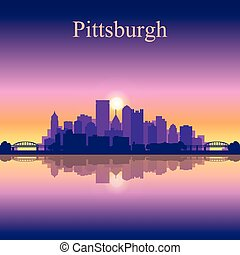 Pittsburgh city skyline silhouette background, vector...