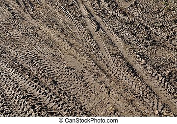 Mountain Bike Tracks in Mud Background