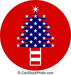 patriotic tree - Illustration of a Christmas tree made up of...