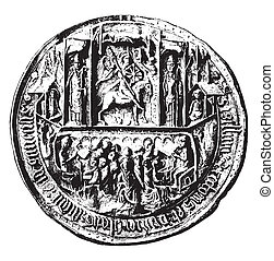 Seal of the University of Angers in the Middle Ages, vintage...