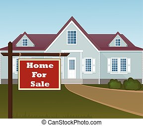 Home For Sale Real Estate Sign in Front of Beautiful New...