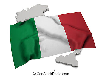 Realistic flag covering the shape of Italy (series)